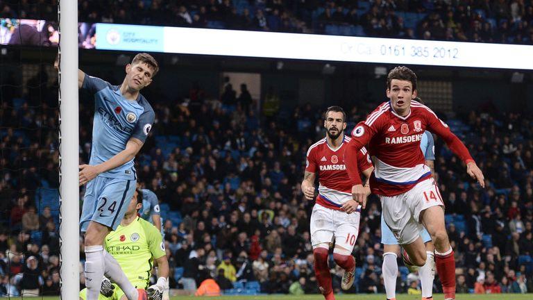 Middlesbrough's Dutch midfielder Marten de Roon wheels away to celebrate