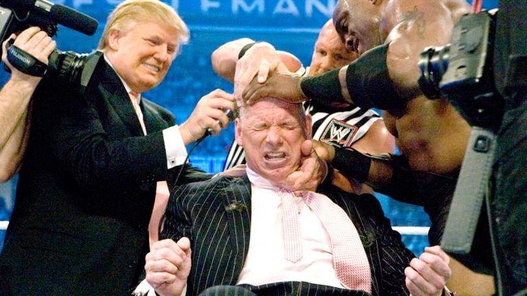 Donald Trump shaves Vince McMahon's head at WrestleMania 23