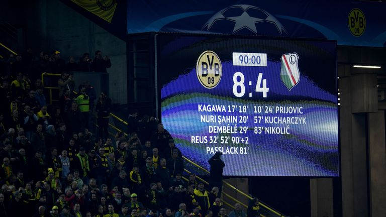Dortmund and Legia Warsaw broke a Champions League record for an aggregate score (Reus' third goal was later attributed to an own goal)