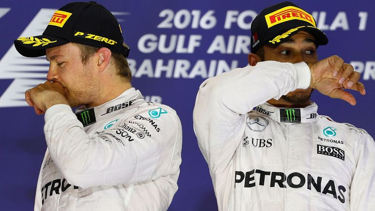 The two title combatants on the podium in Bahrain - Picture from Getty Images