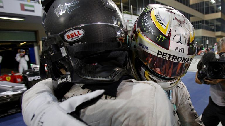 Hamilton congratulated Rosberg immediately after the race in Parc Ferme