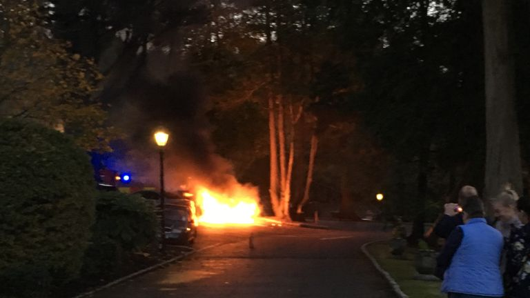 Minutes before the NI team arrived at their team hotel, a vehicle in the car park caught fire due to a technical fault