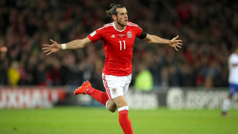 Wales' Gareth Bale celebrates scoring his side's first goal of the game