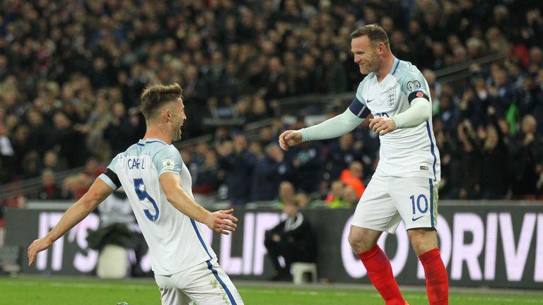 Gary Cahill celebrates scoring England's third goal