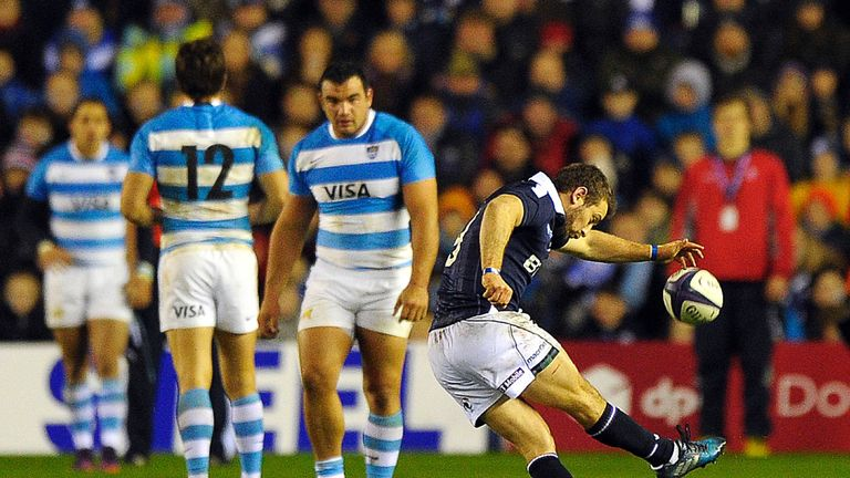 Scotland's captain and scrum half Greig Laidlaw scores a penalty