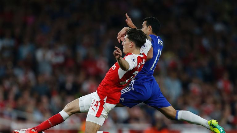 Bellerin tackles Chelsea's Pedro during Arsenal's 3-0 win at the Emirates Stadium