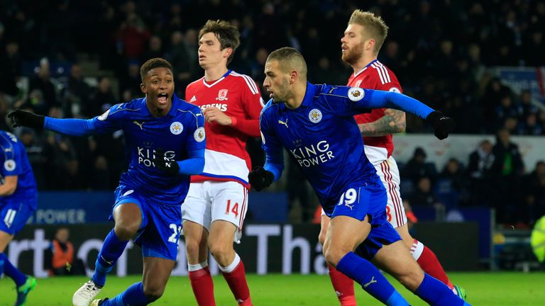 Leicester City's Islam Slimani (2nd R) celebrates after scoring a late penalty