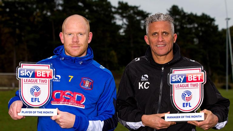 Carlisle duo Jason Kennedy (left) and Keith Curle picked up the Sky Bet League Two awards