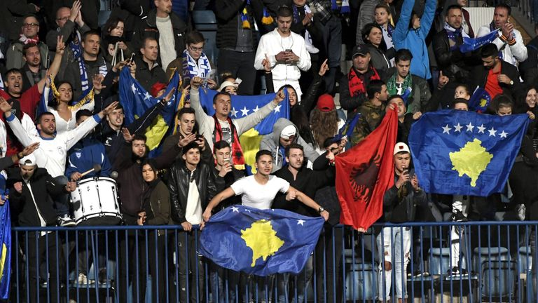 Kosovo supporters watch their side's 1-1 draw with Finland in September