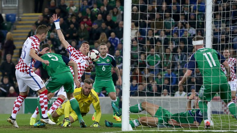 Croatia's Mario Mandzukic (third from left) scores his side's first goal of the game