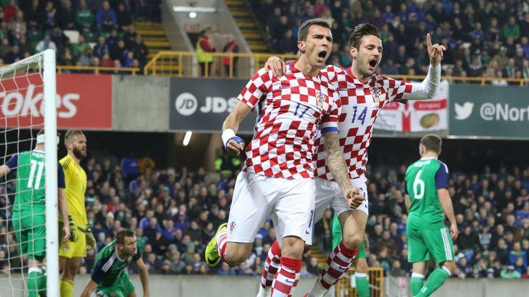 Mandzukic (C) celebrates scoring for Croatia against Northern Ireland