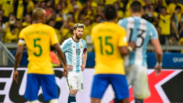 Lionel Messi left down in the dumps in Brazil on Thursday night