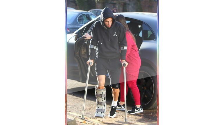 Philippe Coutinho arrives at the Spire Hospital wearing an ankle brace