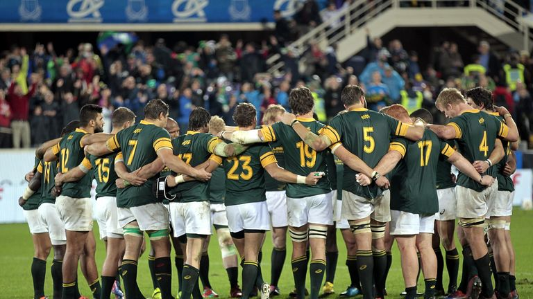 South Africa formed a huddle at the end of the match