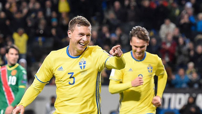 Lindelof celebrates after scoring for Sweden against Bulgaria