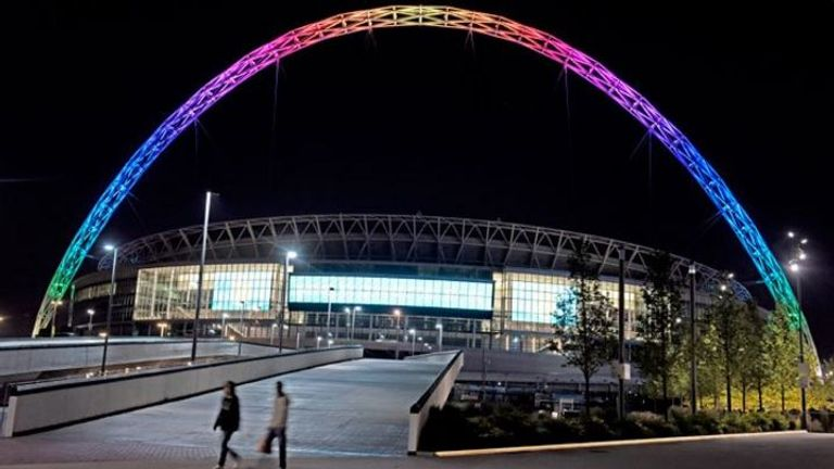 The arches of Wembley Stadium were lit up in rainbow colours (Pic: @wembleystadium)