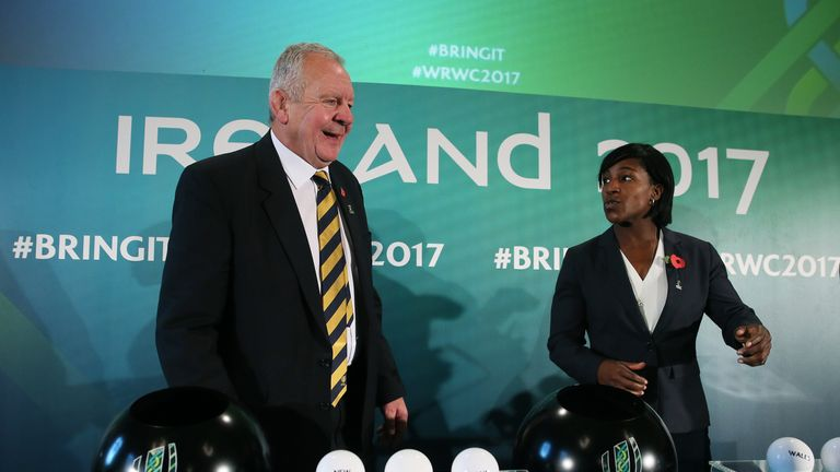 World Rugby chairman Bill Beaumont with former England international Maggie Alphonsi during the 2017 Women's Rugby World Cup pool draw at Belfast City Hall