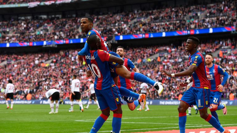 Puncheon celebrates putting Crystal Palace ahead in the FA Cup final against Manchester United
