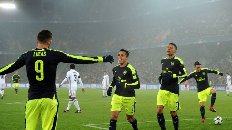 Perez celebrates his second goal of the game against Basel