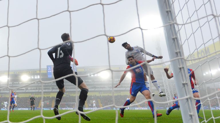Diego Costa of Chelsea scores his side's first goal against Crystal Palace