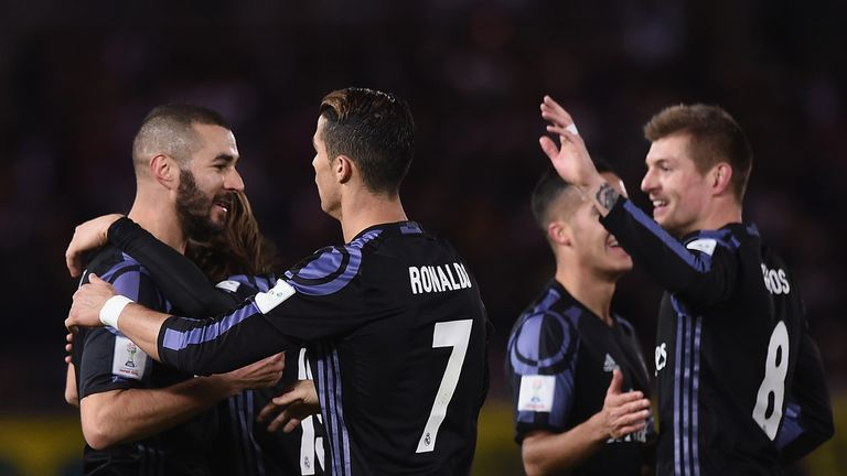 c49d68f132b Karim Benzema and Cristiano Ronaldo celebrate booking Real Madrid s spot in  the FIFA Club World Cup