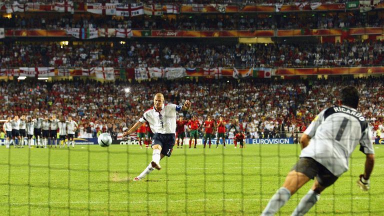 David Beckham fires over the bar for England in Euro 2004 against Portugal