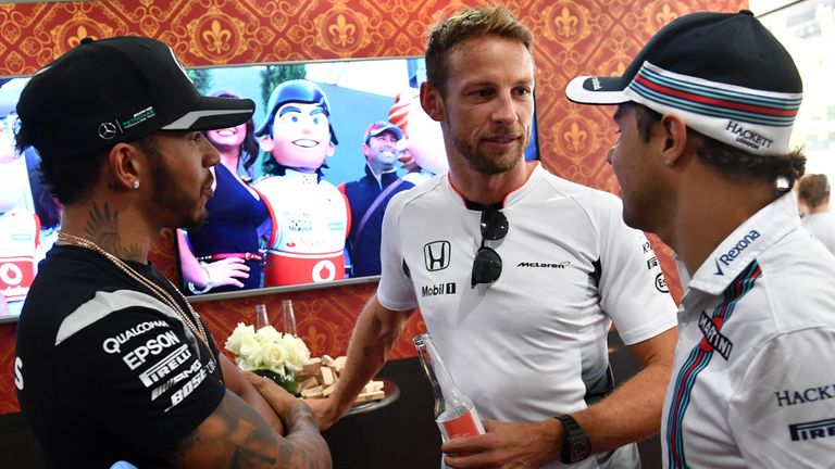 Lewis Hamilton, Jenson Button and Felipe Massa at 'The Dog and Button', the specially-made 'pub' at McLaren for JB's 300th race - Picture from Sutton Image