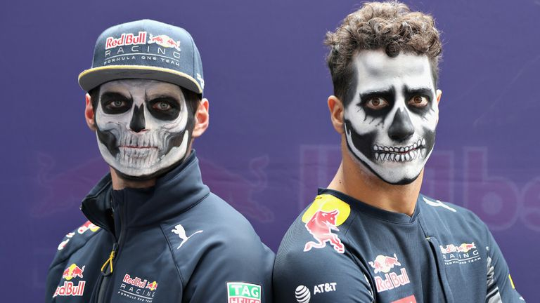 Red Bull's Max Verstappen and Daniel Ricciardo get into the spirit of Mexico's Day of the Dead - Picture from Getty Images