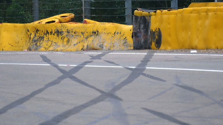 The tell-tale skid marks left by Kevin Magnussen's crashed Renault during the Belgian GP - Picture from Sutton Images