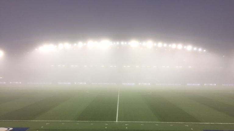 The Amex Stadium is shrouded in fog on Friday night