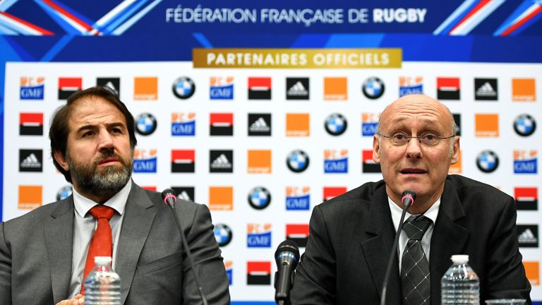 President of French Rugby Federation (FFR) Bernard Laporte (right) and vice-president Serge Simon announced plans for a new stadium have been shelve