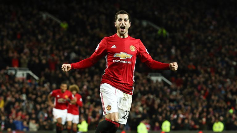 Henrikh Mkhitaryan celebrates scoring for Man Utd