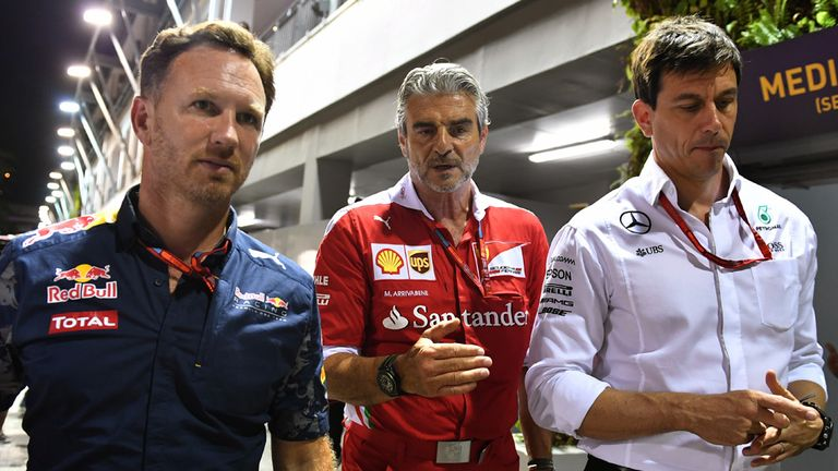 Three wise men of F1: Christian Horner, Maurizio Arrivabene and Toto Wolff - Picture from Sutton Images