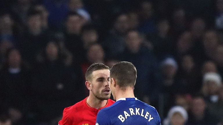 Jordan Henderson and Ross Barkley exchange words during the derby match at Goodison Park