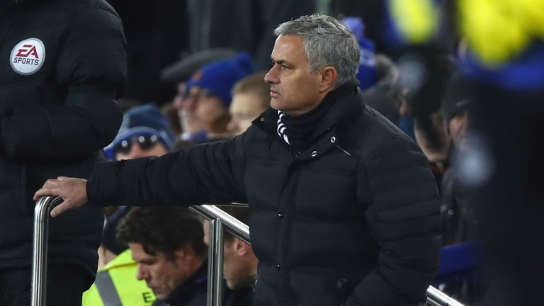 Jose Mourinho watched his side draw 1-1 at Goodison Park on Sunday