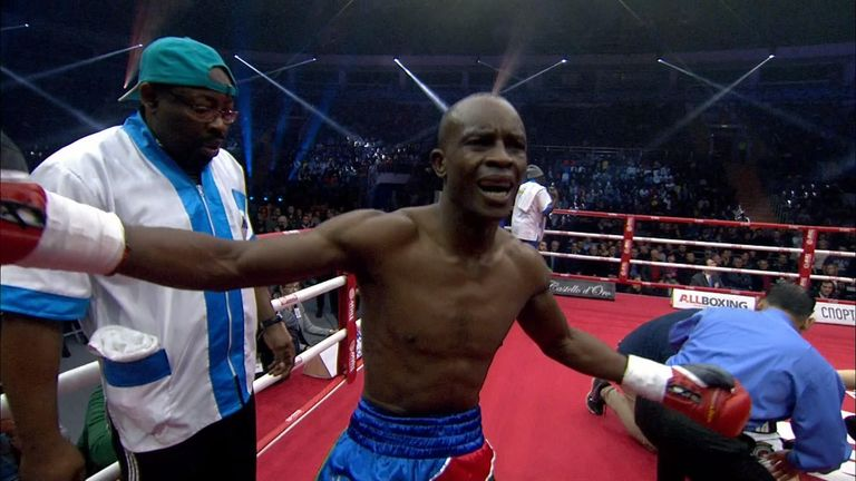 Namibia's Julius Indongo reacts after knocking out Eduard Troyanovsky