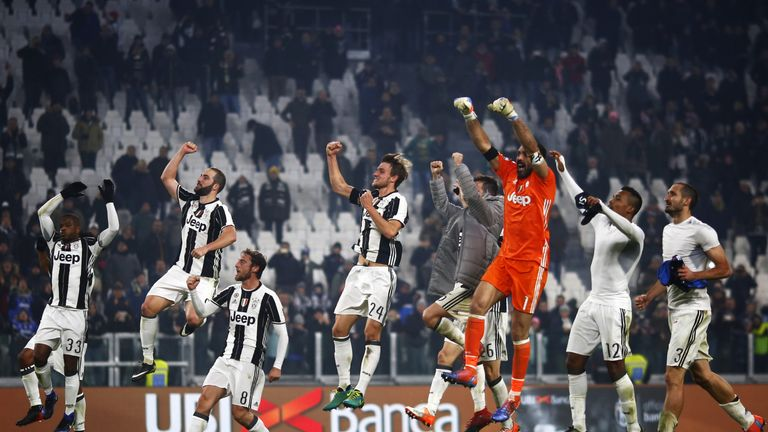 Juventus celebrate after moving seven points clear at the top of Serie A