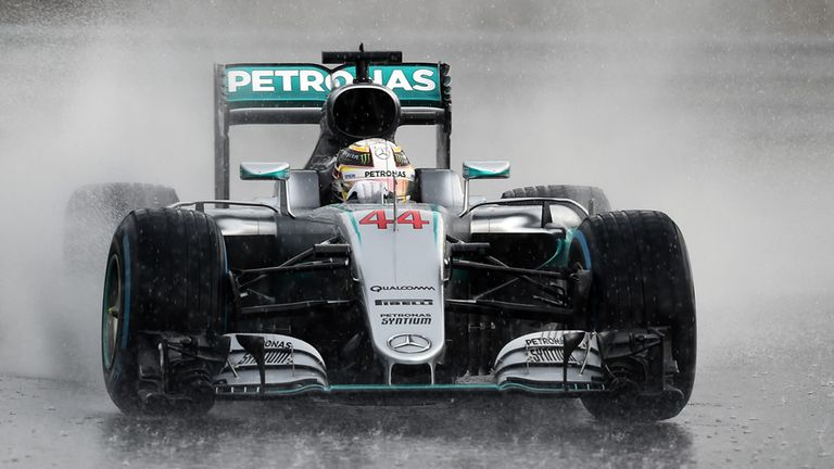 Lewis Hamilton drives through the rain in Hungary - Picture from Sutton Images