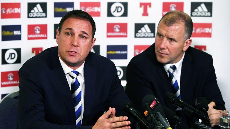 Malky Mackay and Stewart Regan address Scottish media at Hampden Park