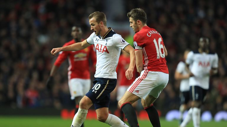 Harry Kane and Michael Carrick battle for the ball at Old Trafford