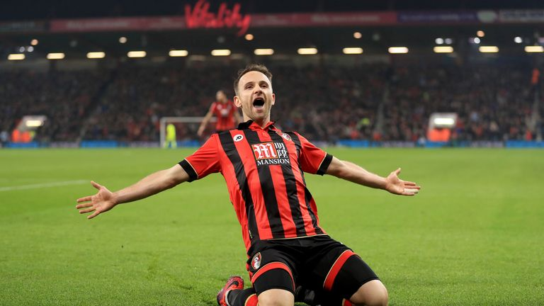 Marc Pugh celebrates his first-half goal for Bournemouth, which proved to be the winner