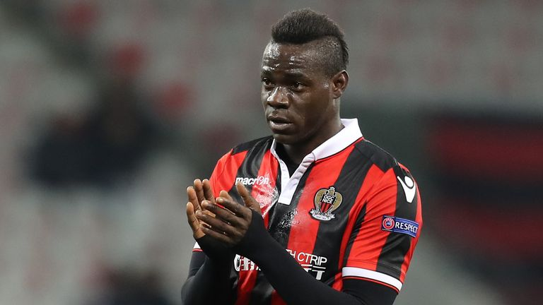Nice forward Mario Balotelli returned to action in the Europa League on Thursday