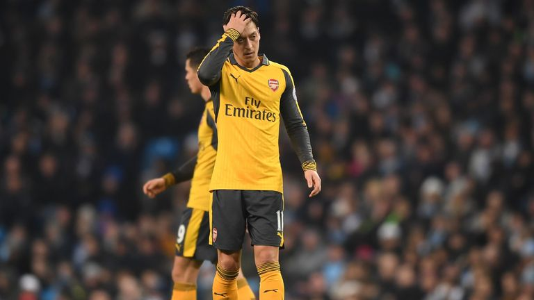 Mesut Ozil has not scored for Arsenal since the win over Stoke City on December 10