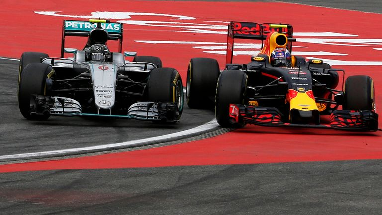 Nico Rosberg drives Max Verstappen off the road during the German GP - Picture from Sutton Images