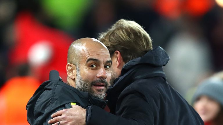 Pep Guardiola embraces Jurgen Klopp at the final whistle