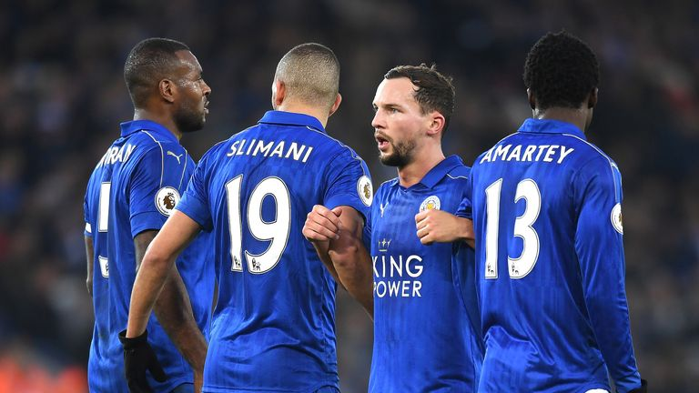Wes Morgan, Islam Slimani, Danny Drinkwater and Daniel Amartey lineup in the wall