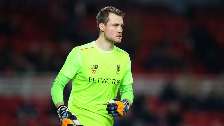 Simon Mignolet warms up prior to kick off  having made the starting XI ahead of Loris Karius