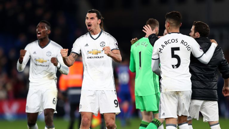 Ibrahimovic celebrates his late winner against Crystal Palace