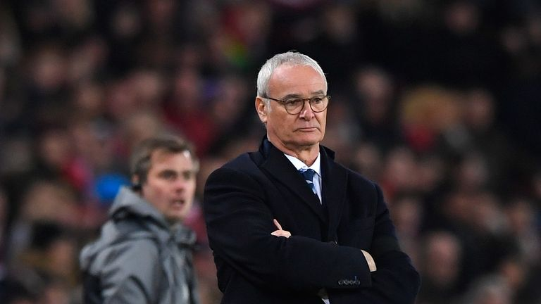 Claudio Ranieri looks on during Leicester's 2-1 loss to Sunderland