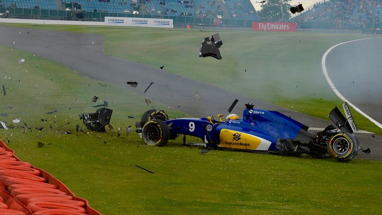 Sauber's Marcus Ericsson crashes during practice for the British GP - Picture from Sutton Images